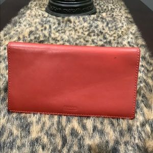 COACH RED LEATHER CHECK BOOK HOLDER